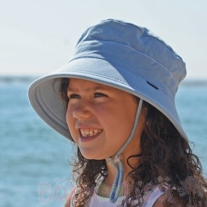 Kids Bucket Hat - Chambray UPF 50+ Kids Bucket sun hat with strap