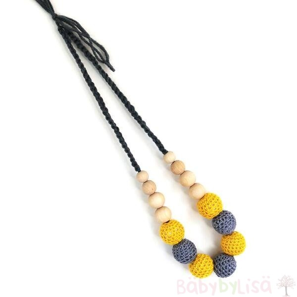 Natural Teething and Breastfeeding Necklace_Yellow