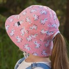 Girls Ponytail Bucket Hat 'Unicorn' Print UPF 50+ Kids Bucket Sun Hat with Chin Strap