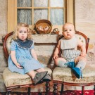 Gertrude and the King baby shoes. Stone and Marine Blue sneakers